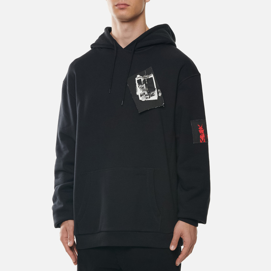 Мужская толстовка Fred Perry x Raf Simons Printed Patch Hoodie Black