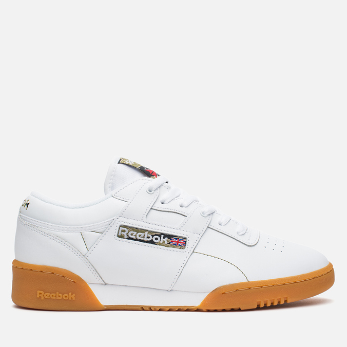 Мужские кроссовки Reebok Workout Low Clean Tiger Camo White/Black/Olive/Oatmeal