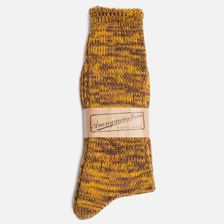 Anonymous Ism Five Colour Mix Crew Men's Socks Brown/Gold