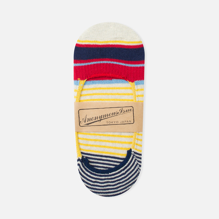 Anonymous Ism Loafer Multi Color Stripes Socks Natural White