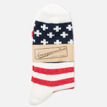 Anonymous Ism Stripe and Cross Men's Socks White/Navy photo- 0
