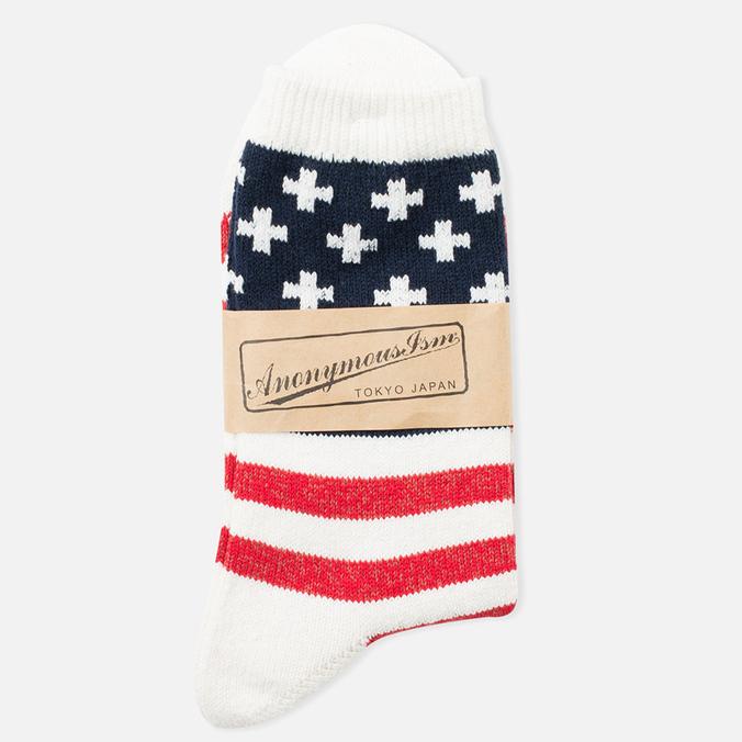 Anonymous Ism Stripe and Cross Men's Socks White/Navy