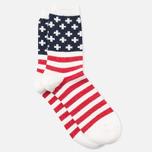 Anonymous Ism Stripe and Cross Men's Socks White/Navy photo- 1