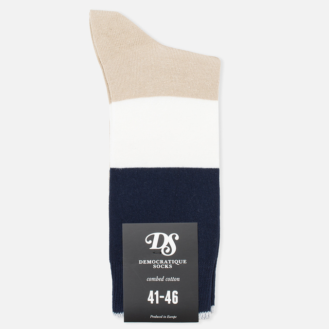 Мужские носки Democratique Socks Originals Block Party Sand/White/Navy
