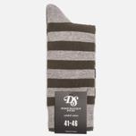 Мужские носки Democratique Socks Originals Striper Light Grey Melange/Forrest Green фото- 0