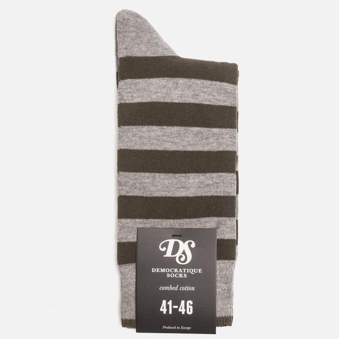 Мужские носки Democratique Socks Originals Striper Light Grey Melange/Forrest Green