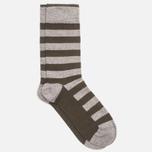 Мужские носки Democratique Socks Originals Striper Light Grey Melange/Forrest Green фото- 1
