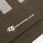 Мужские носки Democratique Socks Originals Striper Light Grey Melange/Forrest Green фото- 2
