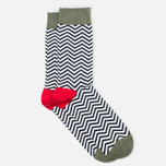 Мужские носки Democratique Socks Originals Ziggerzagger Broken White/Navy/Army/Spring Red фото- 1