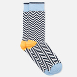 Democratique Socks Originals Ziggerzagger Men's Socks Navy/White/Blue/Light Orange photo- 1