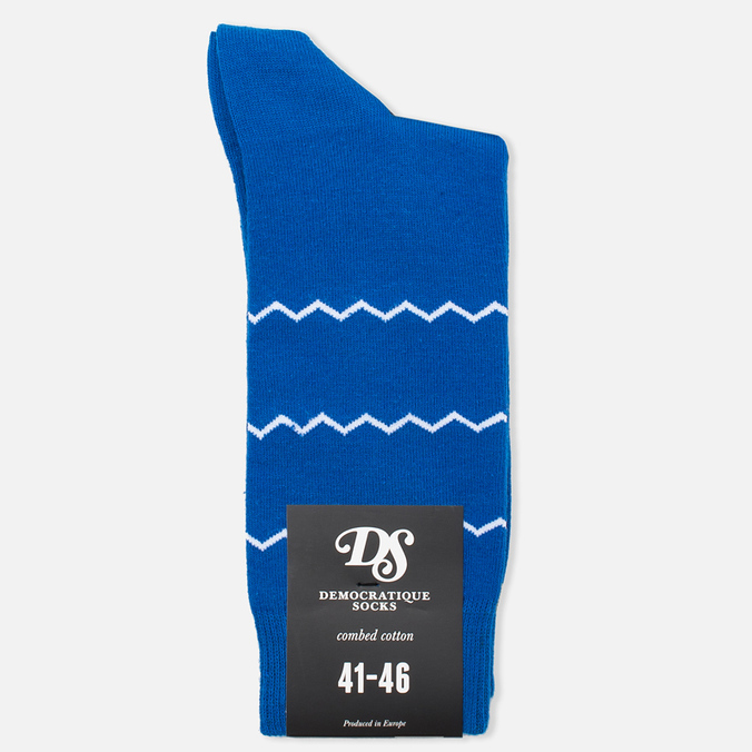 Мужские носки Democratique Socks Originals ZigZag Stripe Henry Blue/White/Dark Sand