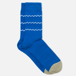 Мужские носки Democratique Socks Originals ZigZag Stripe Henry Blue/White/Dark Sand фото- 1
