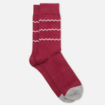 Мужские носки Democratique Socks Originals ZigZag Stripe Red Wine/White/Light Grey Melange фото- 1
