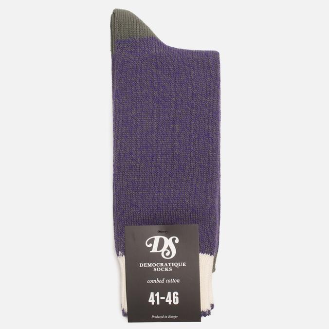 Democratique Socks Relax Melangecontrast Army/Deep Purple/Off White