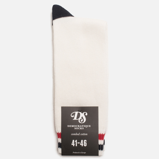 Мужские носки Democratique Socks Relax Two Stripe Broken White/Navy/Spring Red