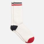 Мужские носки Democratique Socks Relax Two Stripe Broken White/Navy/Spring Red фото- 1