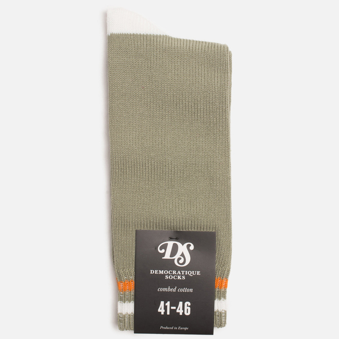 Мужские носки Democratique Socks Relax Two Stripe Dark Sand/Broken White/Orange County