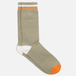 Мужские носки Democratique Socks Relax Two Stripe Dark Sand/Broken White/Orange County фото- 1