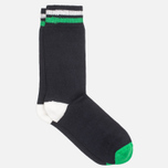 Democratique Socks Relax Two Stripe Men's Socks Navy/Broken White/Sea Green photo- 1