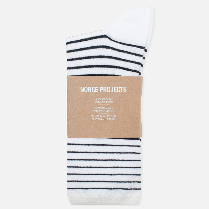 Мужские носки Norse Projects Bjarki B Stripe Kit White