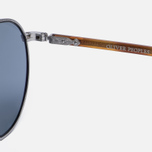 Солнцезащитные очки Oliver Peoples Hassett Brushed Silver/Semi-Matte Light Brown/Blue Goldtone фото- 3