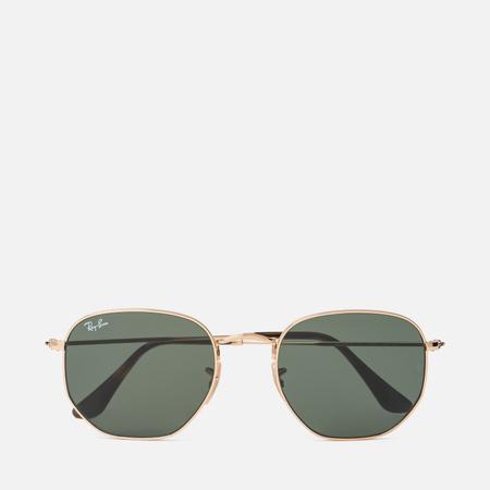 Солнцезащитные очки Ray-Ban Hexagonal Flat Lenses Gold/Green Classic