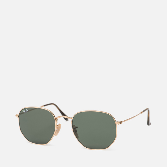 Солнцезащитные очки Ray-Ban Hexagonal Flat Lenses Gold/Green Classic