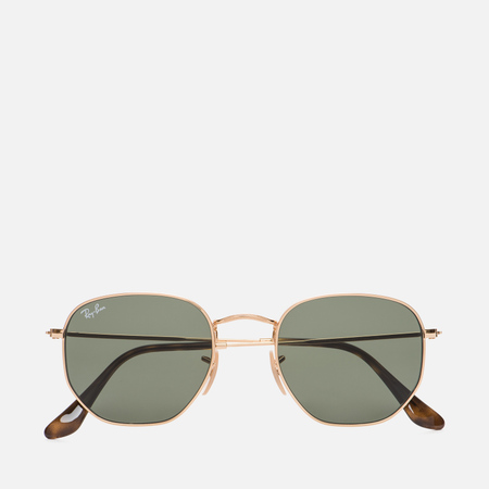 Солнцезащитные очки Ray-Ban Hexagonal Flat Lenses Gold/Green Classic G-15