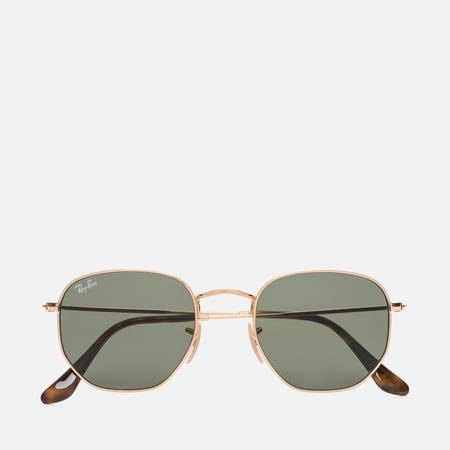 Солнцезащитные очки Ray-Ban Hexagonal Flat Lenses Gold/Green Classic G-15