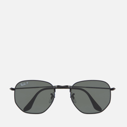 Солнцезащитные очки Ray-Ban Hexagonal Flat Lenses Polished Black/Polarized Green Classic G-15
