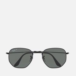 Солнцезащитные очки Ray-Ban Hexagonal Flat Lenses Polished Black/Polarized Green Classic G-15