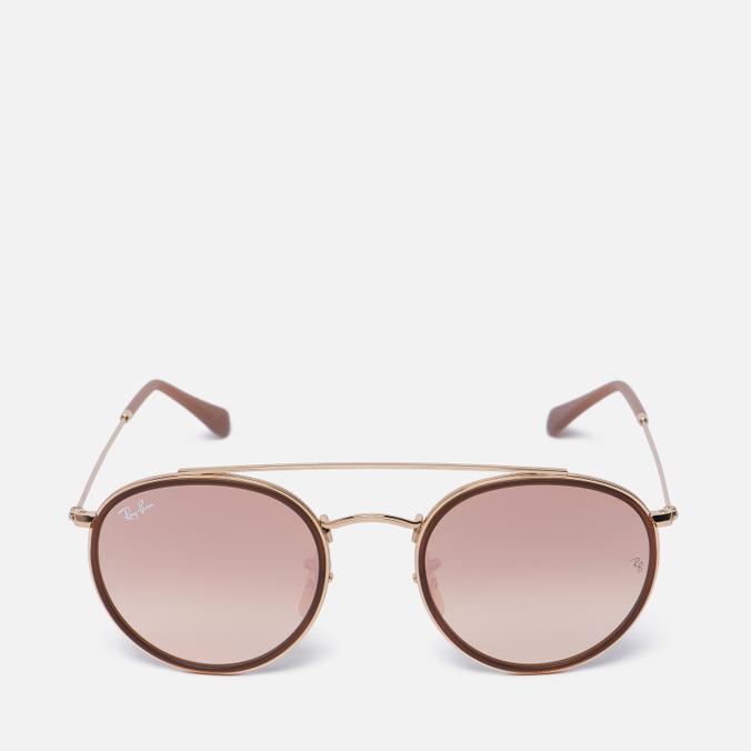 Солнцезащитные очки Ray-Ban Round Double Bridge Gold/Copper Gradient Flash