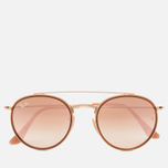 Солнцезащитные очки Ray-Ban Round Double Bridge Gold/Copper Gradient Flash фото- 0