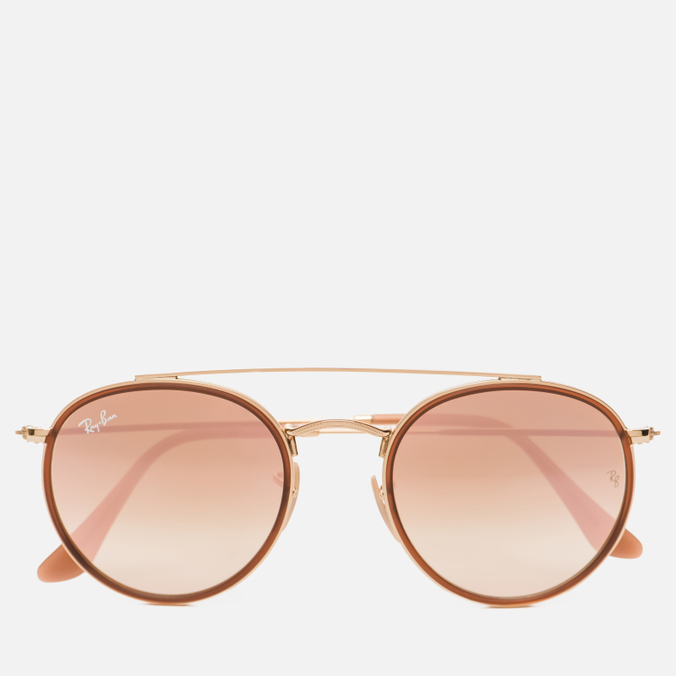 Солнцезащитные очки Ray-Ban Round Double Bridge Gold/Copper Gradient Flash