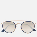 Солнцезащитные очки Ray-Ban Round Double Bridge Gold/Gradient Brown/Mirror Silver фото- 0