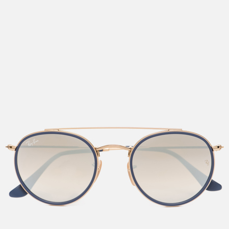 Солнцезащитные очки Ray-Ban Round Double Bridge Gold/Gradient Brown/Mirror Silver