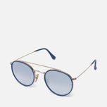 Солнцезащитные очки Ray-Ban Round Double Bridge Gold/Gradient Brown/Mirror Silver фото- 1