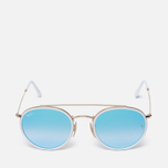 Солнцезащитные очки Ray-Ban Round Double Bridge Gold/Mirror Blue фото- 0