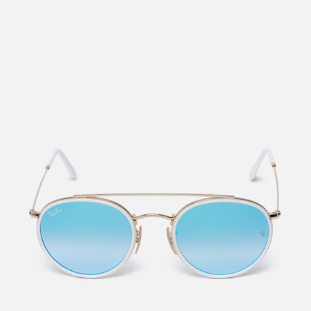Солнцезащитные очки Ray-Ban Round Double Bridge Gold/Mirror Blue