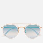 Солнцезащитные очки Ray-Ban Round Double Bridge Gold/Mirror Blue фото- 0