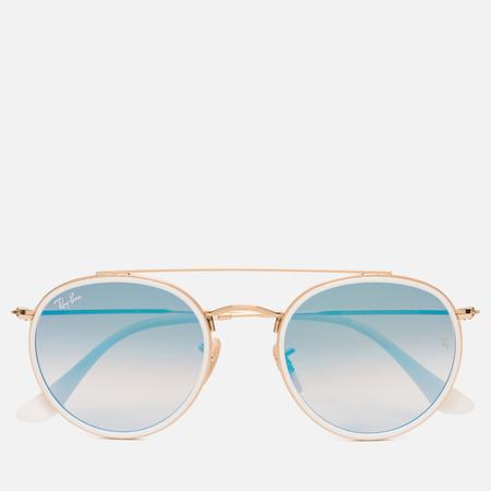 Солнцезащитные очки Ray-Ban Round Double Bridge Gold/Mirror Blue