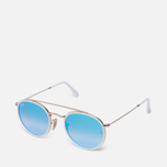 Солнцезащитные очки Ray-Ban Round Double Bridge Gold/Mirror Blue фото- 1
