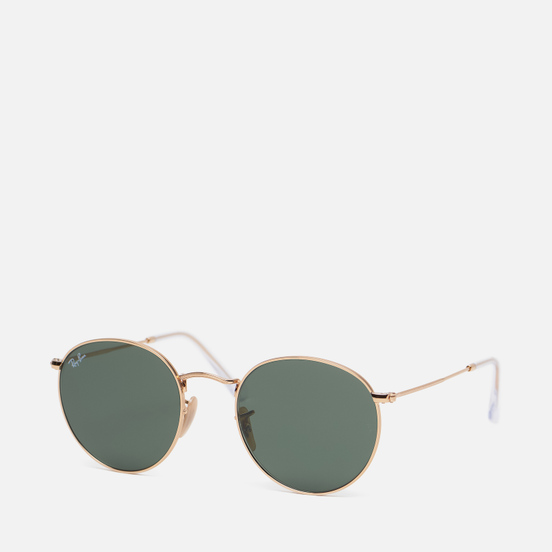 Солнцезащитные очки Ray-Ban Round Flat Lenses Polished Gold/Green Classic G-15