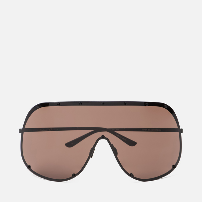 Солнцезащитные очки Rick Owens Shield Black Temple/Brown Lens