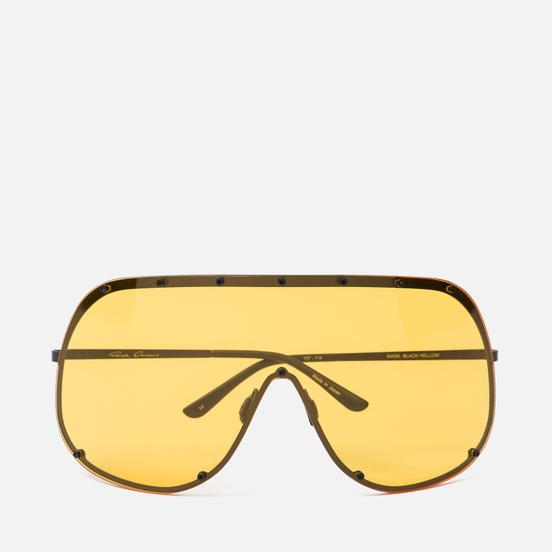 Солнцезащитные очки Rick Owens Shield Black Temple/Yellow Lens