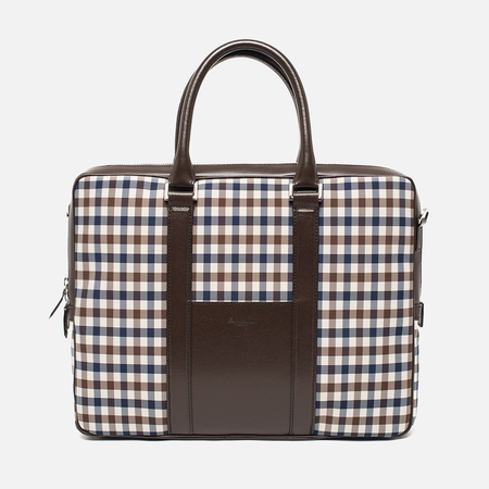 Aquascutum Lap Top Bag Club Check Brown