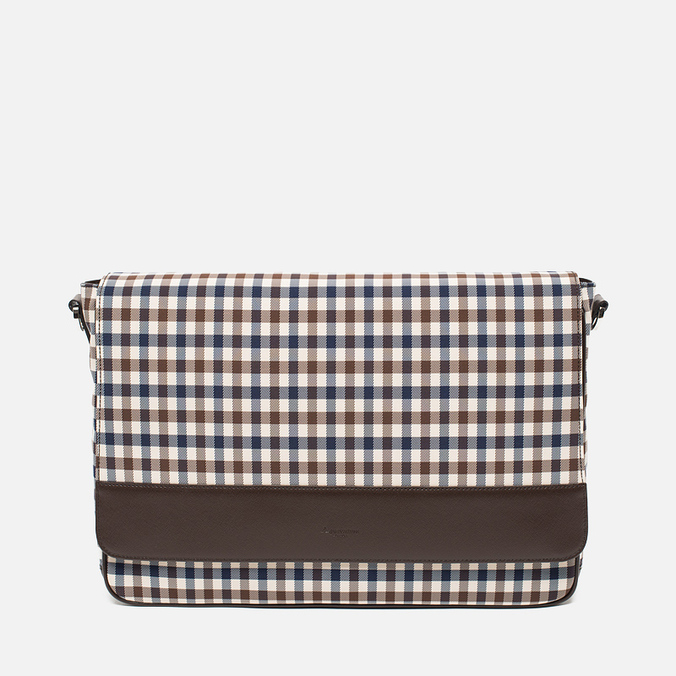 Aquascutum Messenger Bag Club Check Brown