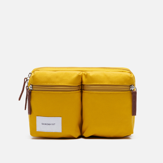 Сумка на пояс Sandqvist Paul 2L Yellow/Cognac Brown Leather