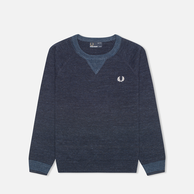 Fred Perry Budding Yarn Tipped Children's Sweater Vintage Navy Marl