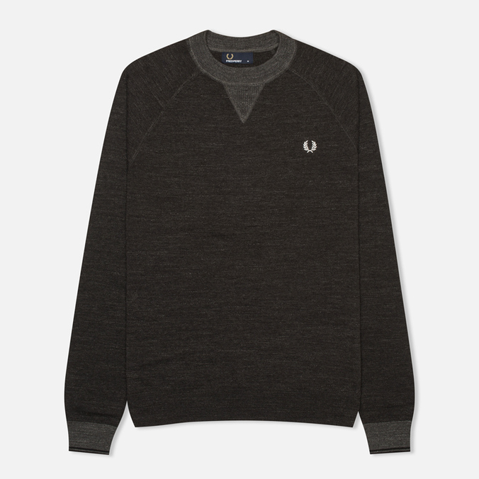 Fred Perry Budding Yarn Tipped Men's Sweater Vintage Graphite Marl